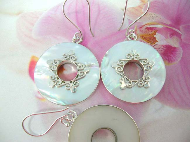 Womens bali jewelry collection warehouse, 925. Sterling silver filigree design on white seashell gemstone earrings