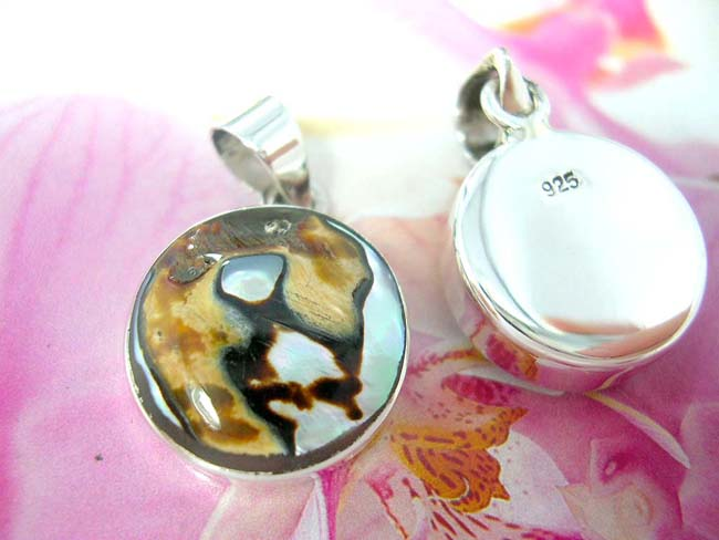 International export jewelry supplier, TIgers eye style gemstone pendant with 925. sterling silver frame