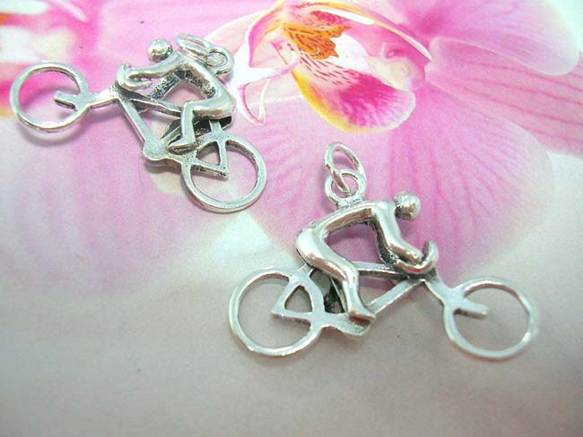 Bali art jewelry wholesale store, Active wear, 925. sterling silver pendant in bicycle design