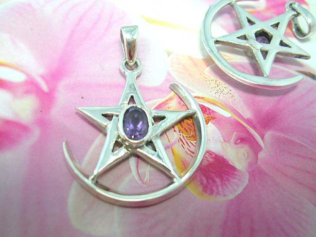 Unique accessories online, buy wholesale Night star with amethyst gem in center sitting on arc, handmade from 925. sterling silver