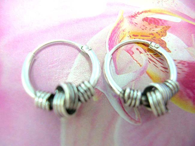 Best jewelry warehouse exchange, Twisted coil design on contemporary 925. sterling silver hoop earrings