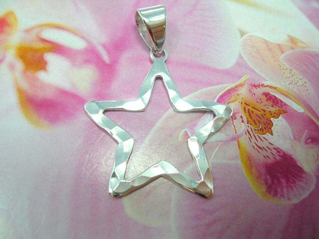 Online wholesale jewelry express, Cut out star designed pendant, bali handcrafted from 925. sterling silver