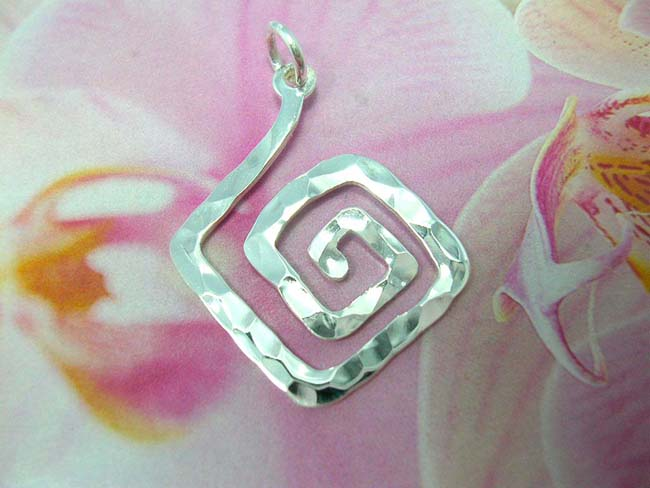 Online jewelry trends, Designed indonesian square spiral pendant, made from 925. sterling silver