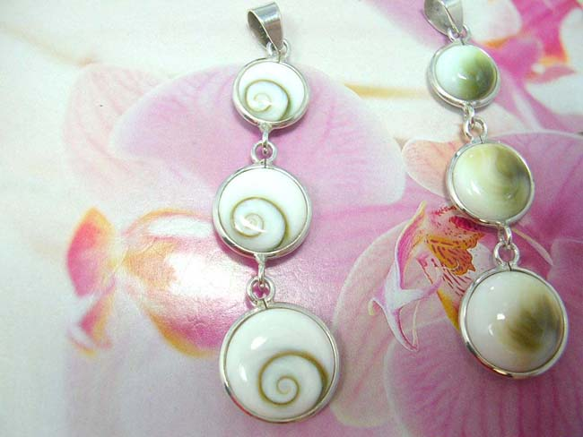 Ladies online gift jewelry, Three seashell collectible earrings with 925. sterling silver frame and chain