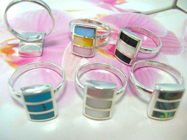 International jewelry collection supplier, Three precious gemstone set in rectangle designed ring, crafted from 925. sterling silver