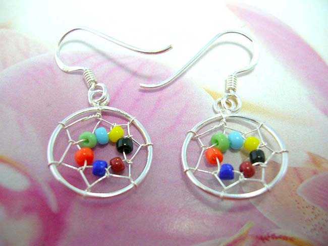 Exotic art wear distributor. Native art designed dream catcher earrings with colorful beads, crafted from 925. sterling silver