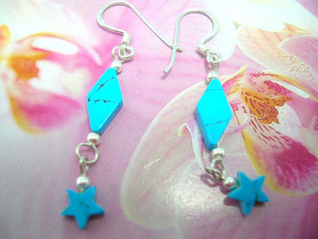 Turquoise gemstone in diamond and star design on 925. sterling silver chain earrings. Indonesia gift b2b trader