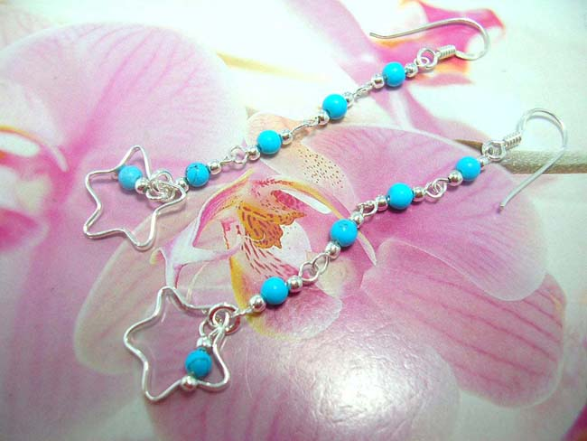 Ladies accessories online, buy best Turquoise beads on 925. sterling silver chain earrings with star theme