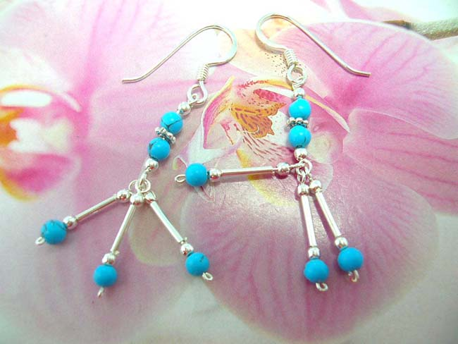 Fashion jewelry exporter, wholesale Handcrafted sterling silver earrings with three pole and turquoise bead design