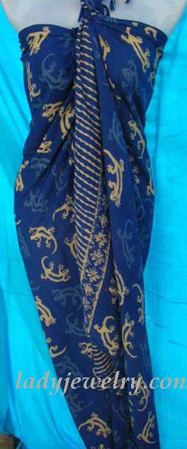 blue with cream colored gecko theme. Indonesia gift clothing retailer