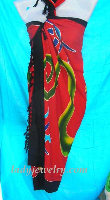 Fine beach supply apparel accessory store. Red fashion batik scarf dress with unique motif and black border