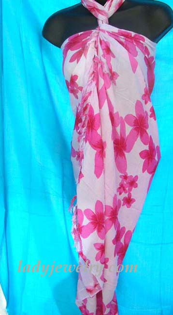 Stylish fashion wear accessories online catalog. Ladies bathing suit sarong wrap in white with pink flower design