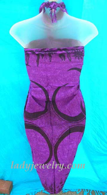Handmade active clothing express agent. Stylish tribal tattoo design in black on purple balinese beach cover up